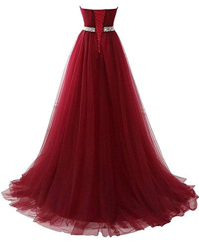 CoutureBridal® Robe Femme en Gaze Robe Longue de Mariage de Soirée avec Faux Bijoux Rouge