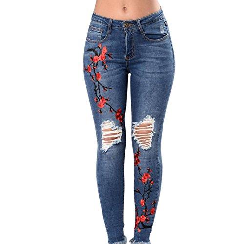 TWIFER Damen Skinny Slim Hosen Eckbestickte Kleine Füße Elastische Löcher Jeans (M, Blau) (Pullover, Kleider, Stiefel)