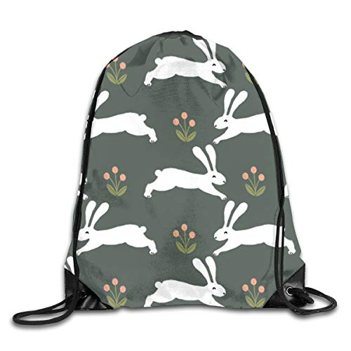 Bunny Rabbit Running Rabbits Easter Cute Spring Animals Design Drawstring Gym Bag for Women and Men Polyester Gym Sack String Backpack for Sport Workout, School, Travel, Books 14.17 X 16.9 inch