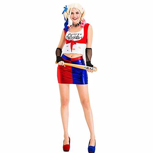 Overall Clown Erwachsene Für Kostüm - Frauen Halloween Kostüm Damen Sexy Erwachsene Overall Selbstmord Team Clown Schürze Kostüm,Blau,L