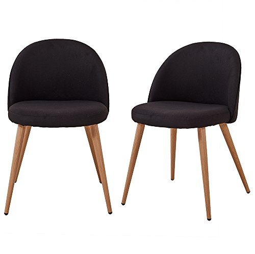Fabric Accent Dining Chair Set of 2 Retro Wood Style Sturdy Metal Legs Cushion Kitchen Lounge Room Furniture Designer GIZZA (Black)