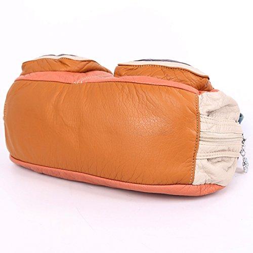 Angelkiss 3 Top Cerniere multi tasche Borse Lavato borse in pelle borse a spalla zaino 1593/2M Rosa