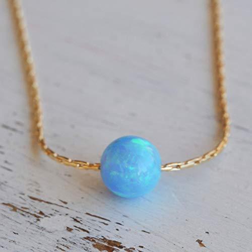 Blue Opal Ball Halskette 14k Gold gef?llt Opal Bead Halskette L?nge 41cm / 16inch + 5cm Extender - Winzige Gold-charme-halskette