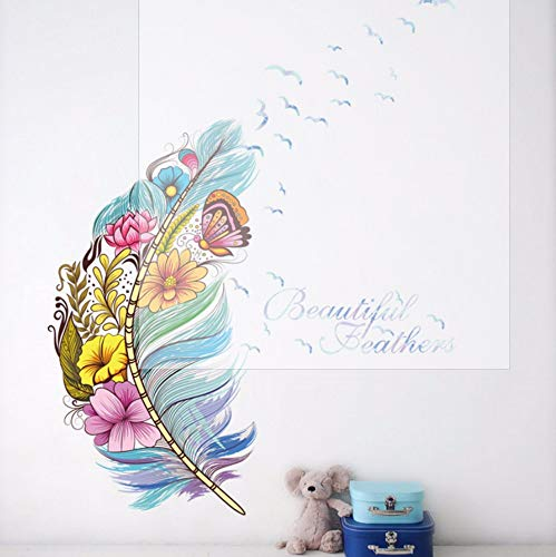 Ayhuir Hermosas Plumas Flor Atrapasueños Arte De La Pared Pegatinas Sala Tienda Mural Decoraciones Regalo Calcomanías Hogar Diy Carteles