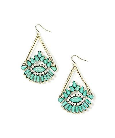 Lux Accessories - Pendants D'Oreilles Strass Turquoise