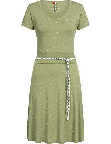 Ragwear Damen Jerseykleid Shirtkleid mit Alloverprint Whitley Grün Gr. L - Baumwolle Jersey Kleid Shirt