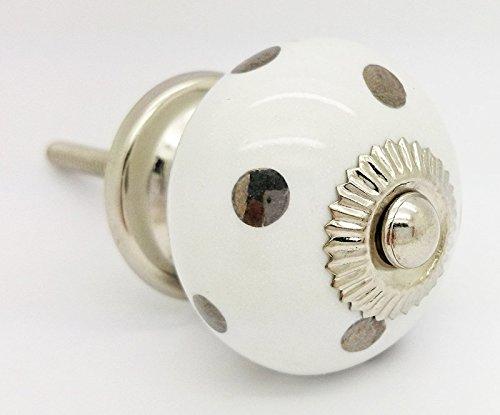 Argento pois pois rotondo vintage shabby chic cassettiera manopola maniglia in ceramica porta 4503-s