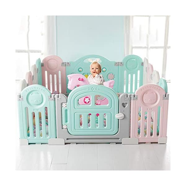 Baby Playpen HUYP Baby Fence Safety Pet Fence Children's Foldable Playpen Kids Activity Centre (Size : 18 small pieces) Baby Playpen  4