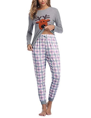 Aibrou Damen Pyjama Schlafanzug Lang Zweiteilige Nachtwäsche Hausanzug Sleepwear aus Baumwolle Langarm Rundhalsausschnitt mit Karierte Hose Grau L