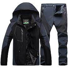 Qitun Hombre de Trekking Impermeable Deportivos Transpirable Pantalones Chaqueta de Esquí Impermeable Chaqueta de Nieve Excursionismo