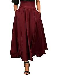 Beaii Mujeres A-Line faldas plisadas de color sólido de alta cintura larga falda plegable