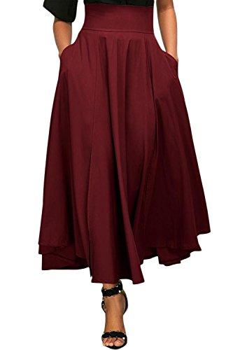 Beaii Damen A-linien Falten R?cke Normallack hoher Taillen lange gefalteter Rock (Schule Kilts)