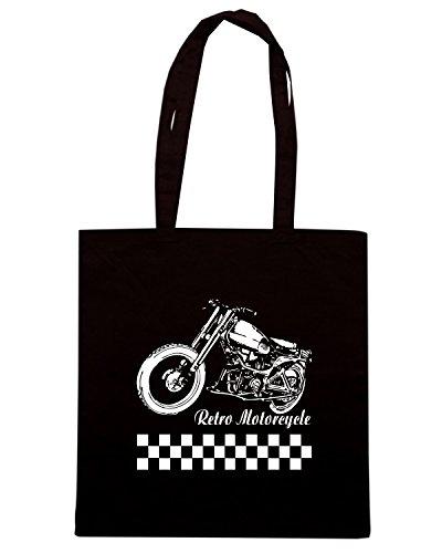 T-Shirtshock - Borsa Shopping TB0094 retro motorcycle Nero