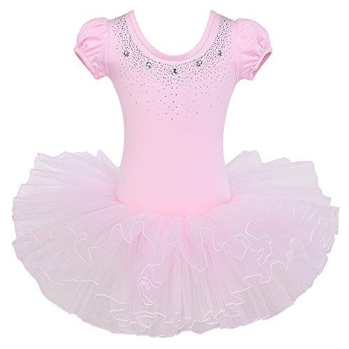 HUANQIUE Ballettkleid Mädchen Tutu Ballet Trikot Kinder Kurzarm Ballettanzug Tanz Tüll Rock 3-8 Jahre