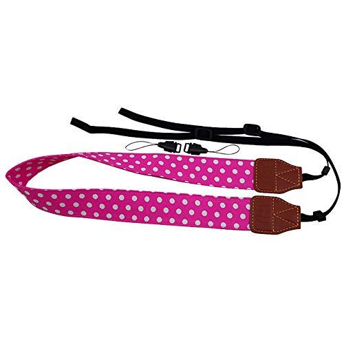 YUnnuopromi Universal Wide Polka Dot Print SLR/DSLR-Kamera-Strap Shoulder Neck Sling Belt Rosenrot - Canon Wide Neck Strap