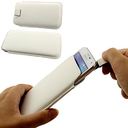Universal Schutz Tasche Slim Cover Pull Tab Hülle passend für Apple iPhone 6 /6s, Samsung Galaxy S7, S6, S6 edge, S5 und viel mehr … ScorpioCover weiss