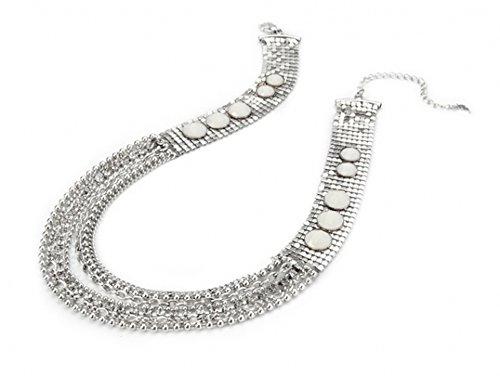 Chunky Argento Mesh Multi Strand Diamante Catena Collana Fashion