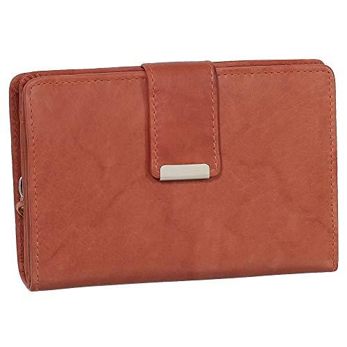 Damen Leder Geldbörse Damen Portemonnaie Damen Geldbeutel - Farbe Chianti-Rust - Geschenkset + exklusiven Ledershop24 Schlüsselanhänger