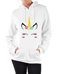 Sweatshirt à Capuche Licorne Femme Ado Imprimé Lâche Manches Longues Pullover Unicorn Hoodie Hip Hop Manteau Pull a Oreille Automne Hiver Overize Tops Veste - BienBien