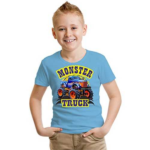 Kinder T-Shirt MONSTER TRUCK Hellblau