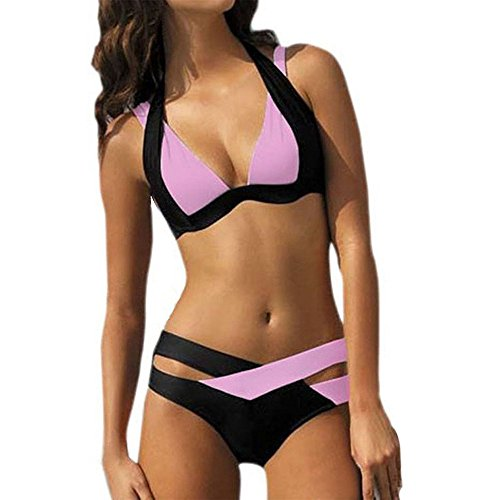 OIKAY 2019 Bikinis Teenager mädchen Sylvie Swimwear Sale Damen Bikinis Strand Bikini-Sets Frauen Bademode Push up BH Bandeau Bikinioberteil Badeanzug(Rosa,M) - Billig Damen Nike Sport-bh