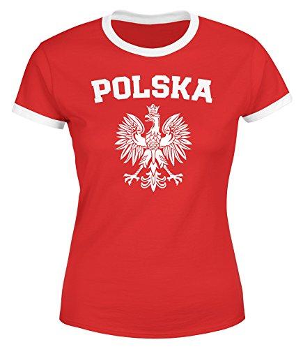 MoonWorks Damen WM-Shirt WM Polska Polen Poland Flagge World Cup Weißer Adler WM 2018 Rot-Weiß S