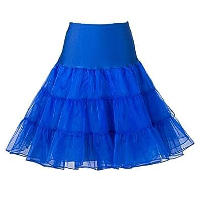 "Boolavard 50's 1950 26"" Rockabilly Petticoat Sottogonna Gonna Retro Annata Altalena Rosso, Nero, Bianco, Blu, Rosa (XS-M (38-46), Blu)"