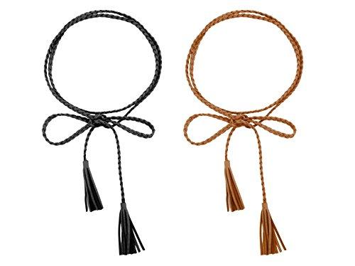el PU Leder Geflochtene Bauchkette mit Tassel Retro Style (L, schwarz tan) ()
