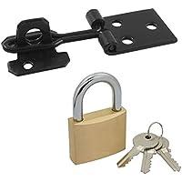 Bulk Hardware BH02465 100 mm (4 inch) Wire Hasp & Staple, Black Japanned with 19 mm (3/4 inch) Brass Padlock & 3 Keys