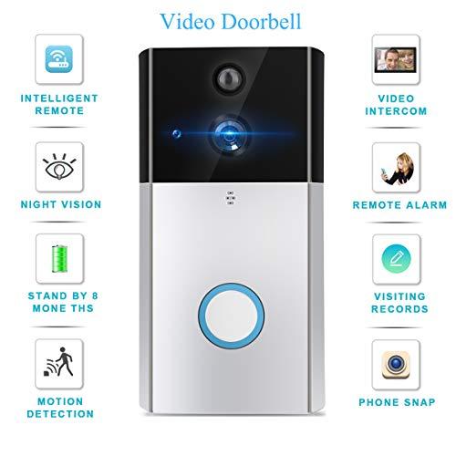 Système Interphone Caméra Intelligente Vidéo sans Fil avec Sonnette WiFi Conversation Double Sens, Vision Nocturne, Détection Mouvement PIR pour Maison, Bureau, Villa, Bâtiment Public
