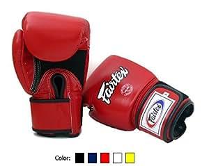 Fairtex Muay BGV1 Gants de boxe thaï respirables Gants d'entraînement pour sport de combat MMA K1, mixte Enfant Homme femme, Red, 360ml (12 oz)