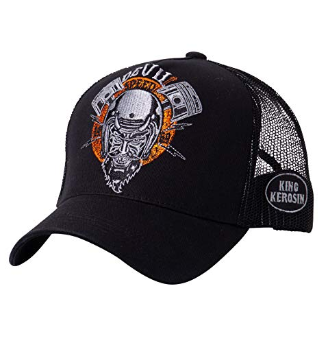 King Kerosin Herren Trucker Cap Mit Rebellischer Front Stickerei Devil Speed Casual Bestickt Stickerei Casualmode Schnalle Trucker Cap Devil Speed