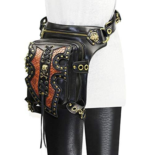 LINDANIG Hombres Steampunk gótico Retro Cuero Multiuso Tactical Gota Pierna Brazo Bolsa Paquete cinturón Senderismo Cintura Fanny Messenger Hombro Bolso Negro (Color : Style2)