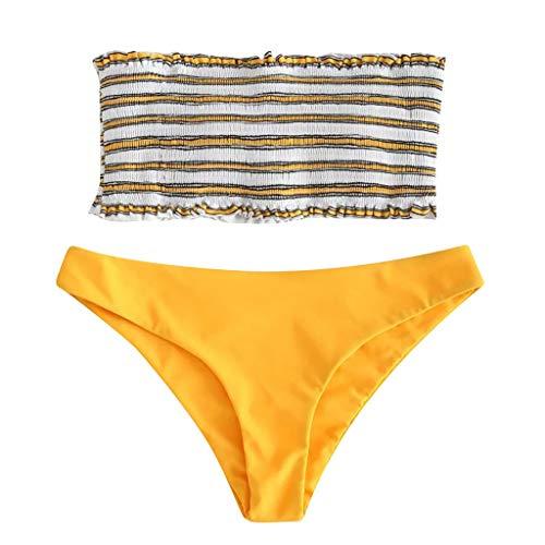 Bfmyxgs Mode 2 STÜCK Frauen Sexy Bademode Bikini Stilvolle Anzug Streifen Push-Up Sexy Gepolsterte Bade Beachwear -