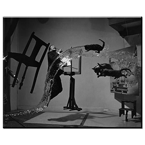 Wohnkultur Wohnzimmer Leinwanddrucke Modulare Malerei an der Wand Realismus Wasser Tier und Menschen Salvador Dali Malerei auf Leinwand Vintage Wall Art Poster No Frame 30x40cm -