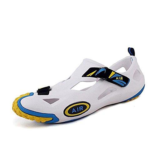 Suaves Sandálias Sapatos Da Moda Buraco-de Espécies Para Os Homens, As Mulheres Antiderrapante Respirável Amarelo Branco