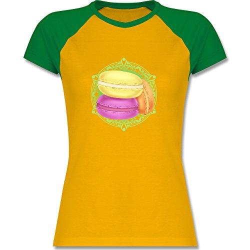 Statement Shirts - Macaroon - zweifarbiges Baseballshirt / Raglan T-Shirt für Damen Gelb/Grün