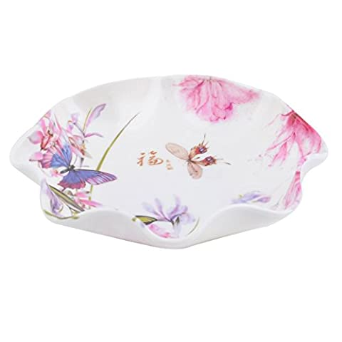 sourcingmap® Plastic Butterfly Pattern Household Kitchen Peach Banana Fruit Candy Snack Plate