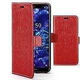Forefront Cases Premium Flip Case Handyhülle für Nokia 5.1 Plus | Handgefertigt und Handgenäht | Multifunktionales Geldbörse und Ständer Design | Doppelter Schutz vor Stößen und Fallenlassen | Rot