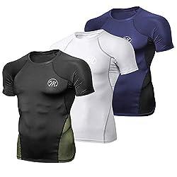 MEETWEE Kompressionsshirt Herren, Sportshirt Laufshirt Kurzarm Funktionsshirt Atmungsaktiv Kurzarmshirt Sports Shirt Trainingsshirt für Männer