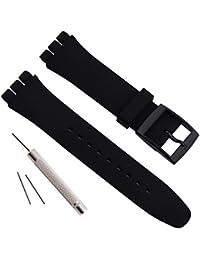 Bracelet de montre étanche en caoutchouc de silicone de remplacement pour Swatch (17mm 19mm 20mm) (20mm, Black)