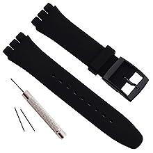 Sostituzione Impermeabile Silicone Gomma Orologio Cinghia Orologio Cinturino per Swatch (17mm 19mm 20mm)(17mm, Nero)