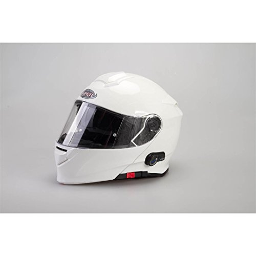Bluetooth casco moto - viper v171 bl+ 3.0 casco modulare da moto, bluetooth flip up touring casco ribaltabile - bianco - xs