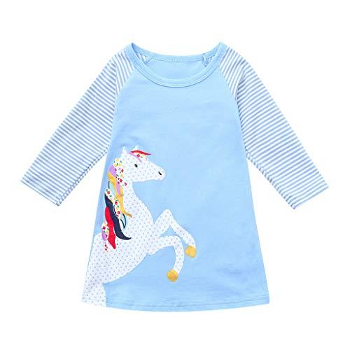 Amlaiworld frühling Sommer bunt Pferd drucken Kleid Mädchen gestreift Langarm Kleider Baby niedlich Mode süße Kleidung, 0-6 Jahren (1 Jahren, A - A-Himmelblau)