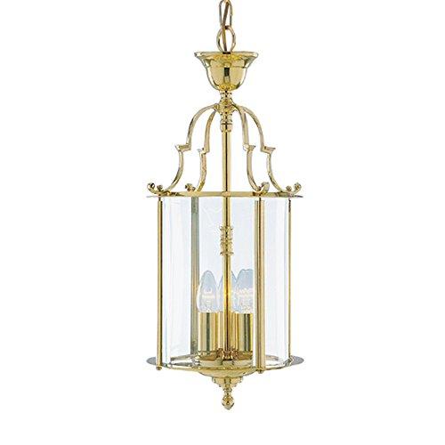 Tradizionale a 3luci, in ottone massiccio Hall lanterna da appendere con dettagli in ghisa e pannelli in vetro trasparente