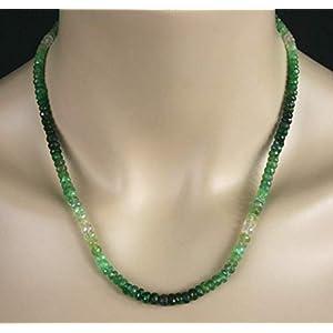 Smaragd Kette/Collier, grün-weiß im Farbverlauf, sehr edel, 79ct.
