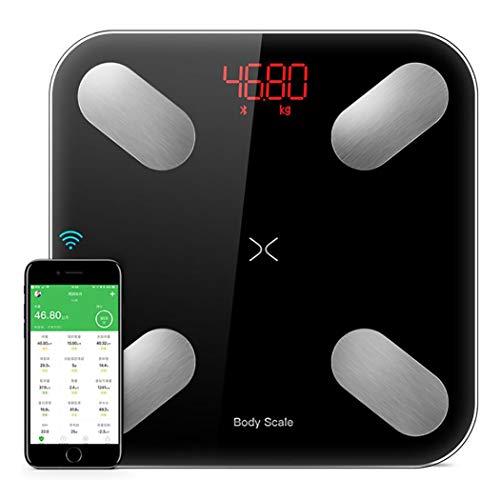DPPAN Smart Bluetooth Bilancia Impedenziometrica, Misura Il Grasso corporeo, l\'acqua corporea, la Massa ossea, la Massa Muscolare, l\'IMC e Altro,Black
