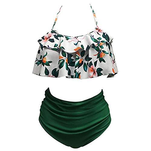 iBaste Sexy Bikini Damen High Waist Bademode Neckholder Bikini mit Polka Dots Badeanzug Damen Bikini Set (XL, Dark Grün)