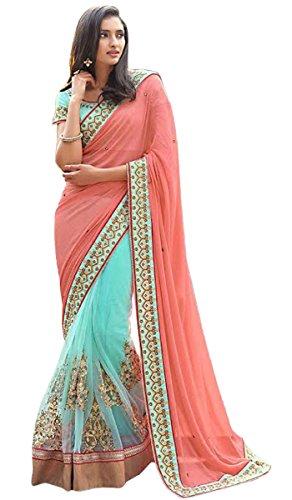 Frauen Designer Sari Mit Unstitched Bluse gestickte Saree Ethnische Hochzeit tragen (Sari Tragen Indische)