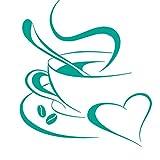 Grandora Wandtattoo Kaffetasse Herz I türkis 20 x 23 cm I Kaffee Tasse Bohnen selbstklebend Küche Aufkleber Wandaufkleber Wandsticker W3040